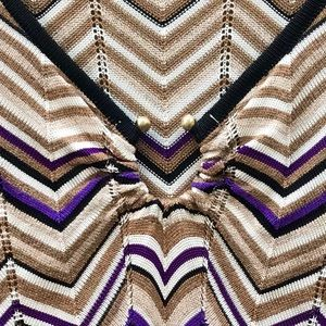 Cache Tops - Cache Size Small Chevron Print Knit Top With Ring
